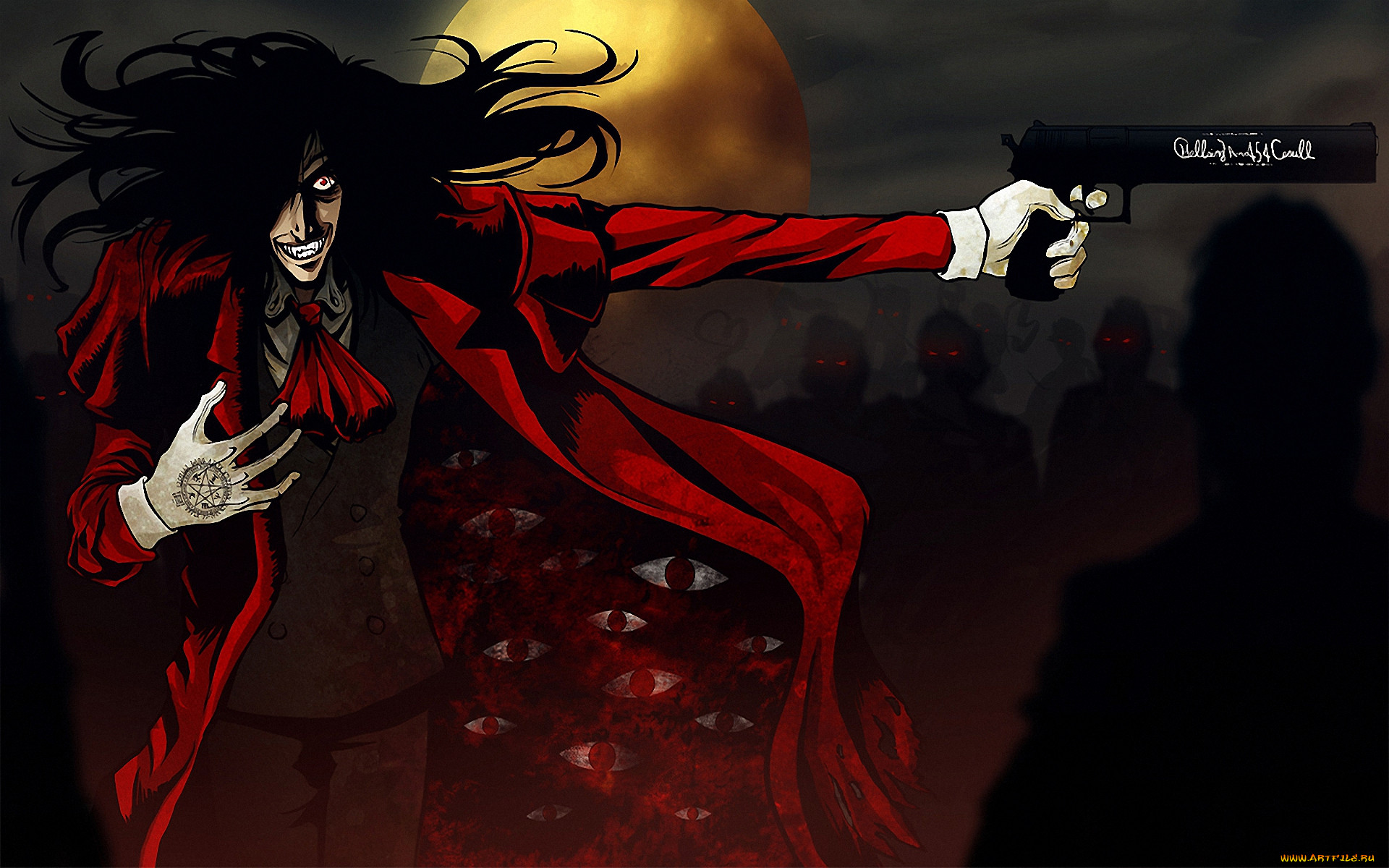 аниме, hellsing, алукард, alucard, дракула, вампир, шакал, оружие, пистолет, dracula, луна